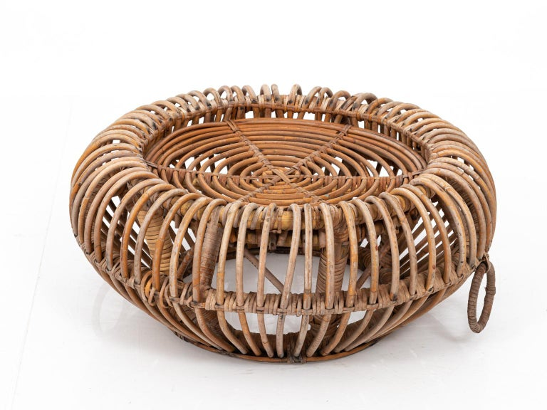 Rattan Ottoman in the Manner of Franco Albini For Sale 2
