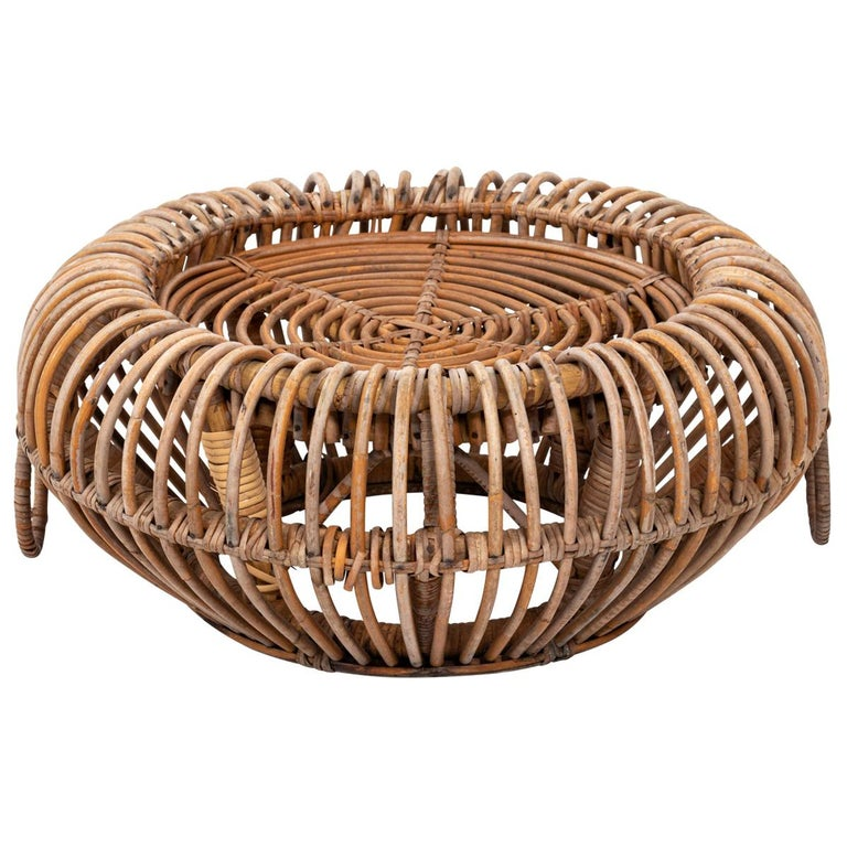 Rattan Ottoman in the Manner of Franco Albini For Sale