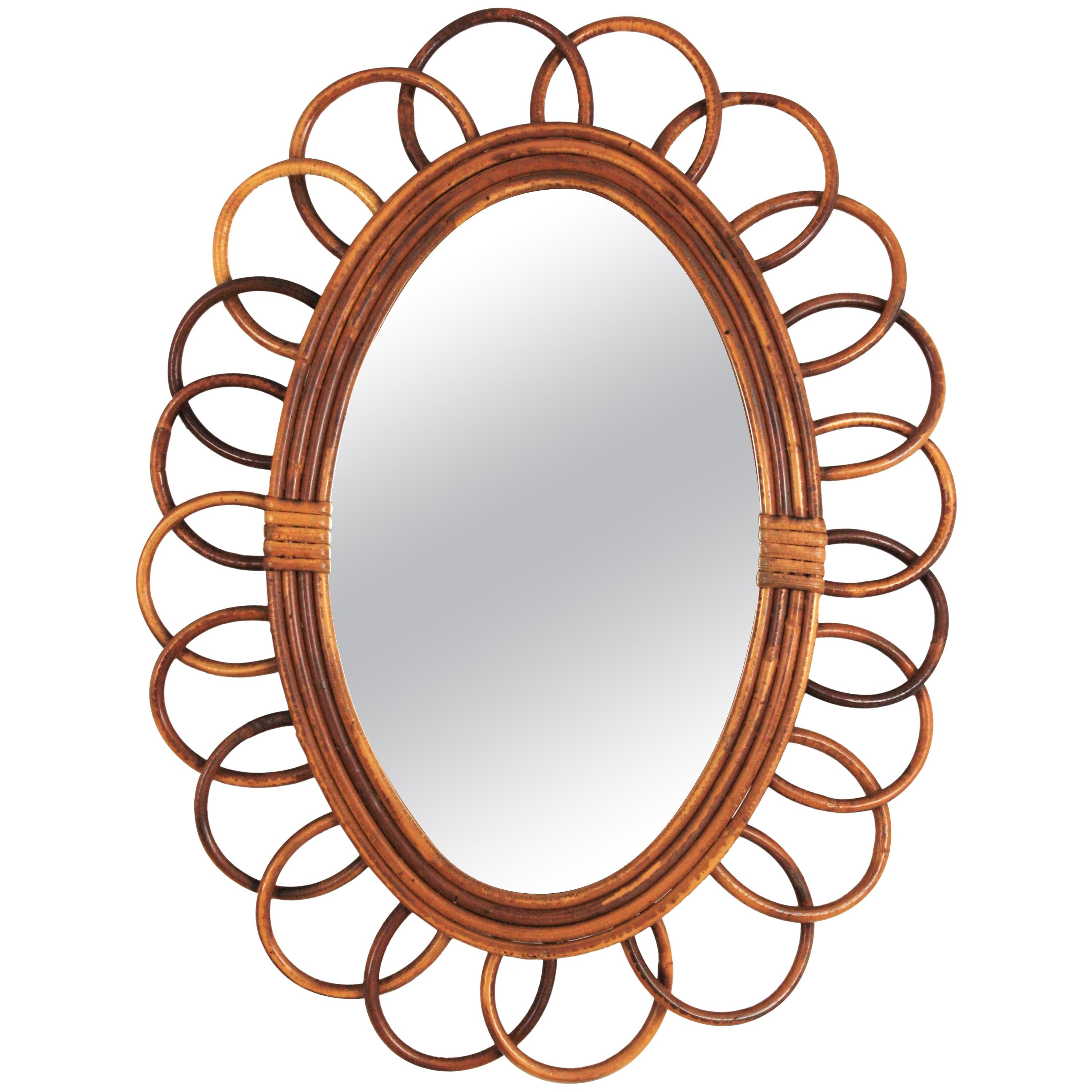 Rattan Oval Flower Mirror from France, 1960s