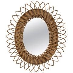 Rattan Oval Sunburst Mirror with Gold Paint