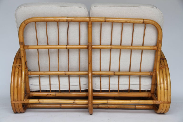 Rattan Pretzel Loveseat in the Style of Paul Frankl For Sale 1