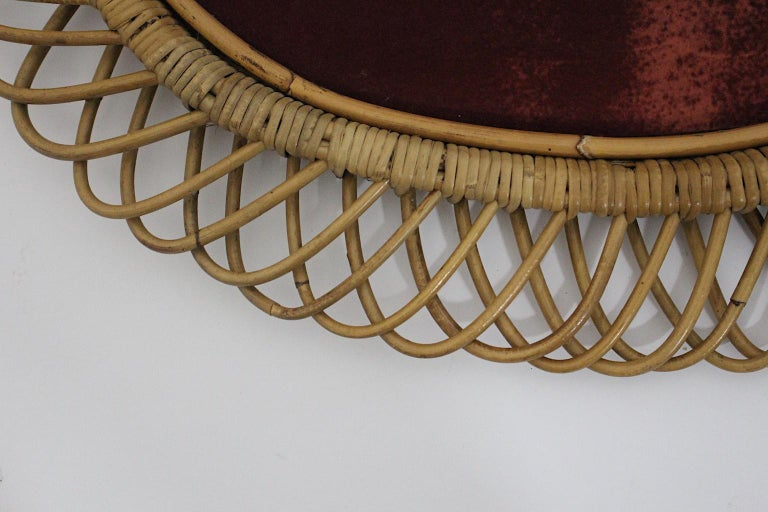 Rattan Riviera Style Vintage Sunburst or Wall Mirror, France, 1950s For Sale 4