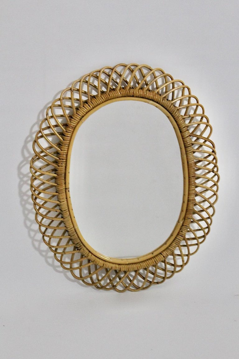 Rattan Riviera Style Vintage Sunburst or Wall Mirror, France, 1950s For Sale 5