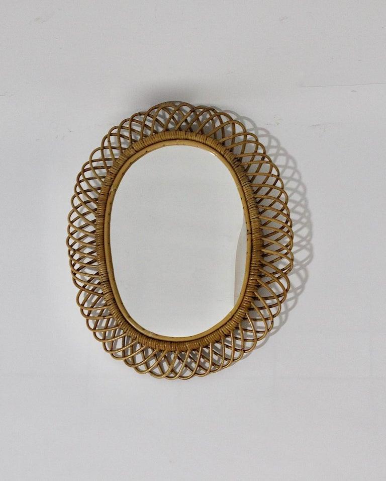 Mid-Century Modern Rattan Riviera Style Vintage Sunburst or Wall Mirror, France, 1950s For Sale