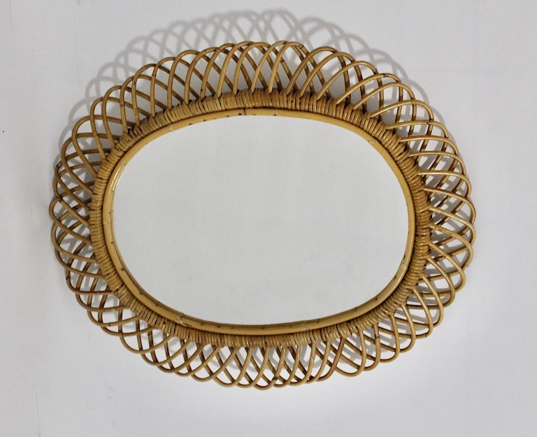French Rattan Riviera Style Vintage Sunburst or Wall Mirror, France, 1950s For Sale
