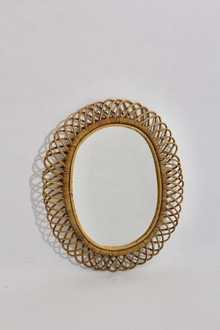 Rattan Riviera Style Vintage Sunburst or Wall Mirror, France, 1950s In Good Condition For Sale In Vienna, AT