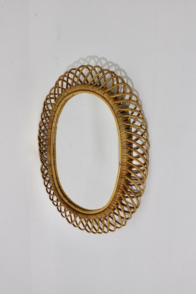Rattan Riviera Style Vintage Sunburst or Wall Mirror, France, 1950s For Sale 2