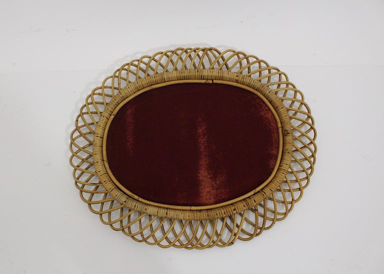 Rattan Riviera Style Vintage Sunburst or Wall Mirror, France, 1950s For Sale 3