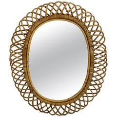 Rattan Riviera Style Vintage Sunburst or Wall Mirror, France, 1950s