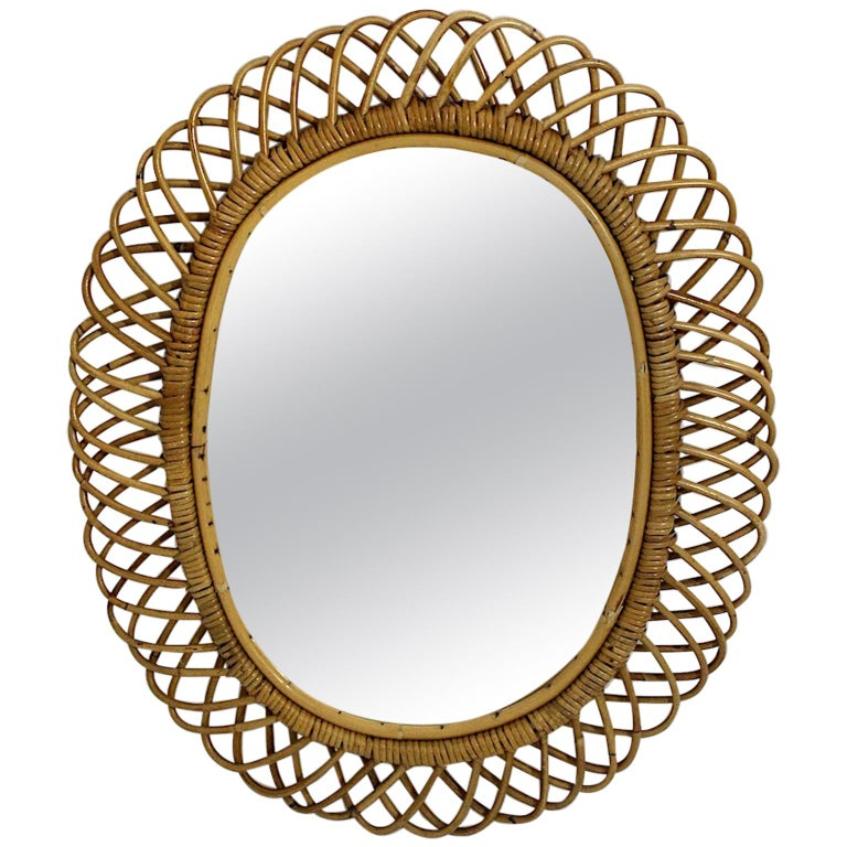 Rattan Riviera Style Vintage Sunburst or Wall Mirror, France, 1950s For Sale
