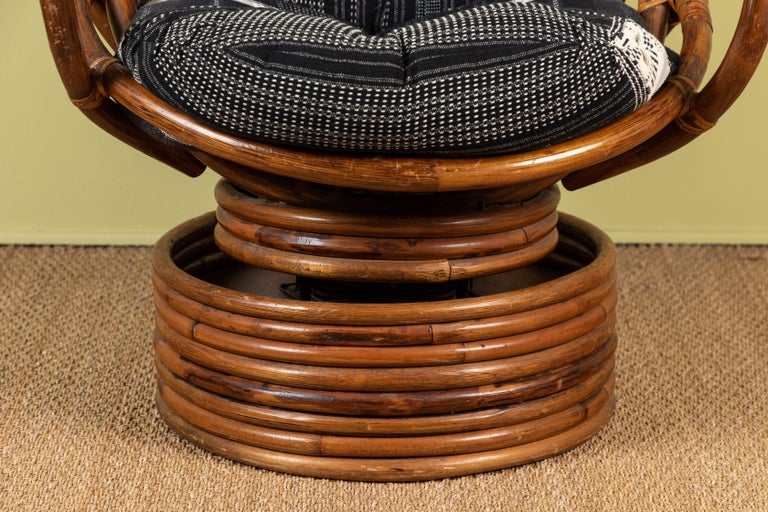 Indian Rattan Rocking and Swivelling Lounge Chairs For Sale