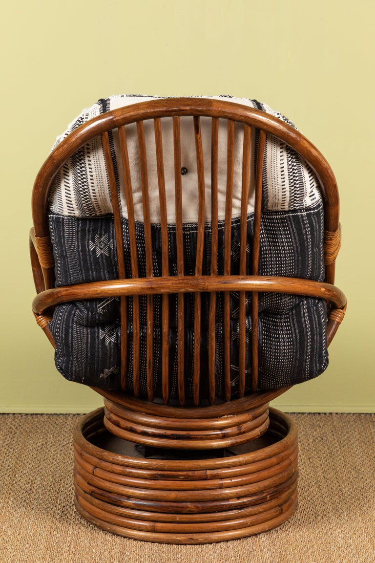 20th Century Rattan Rocking and Swivelling Lounge Chairs For Sale