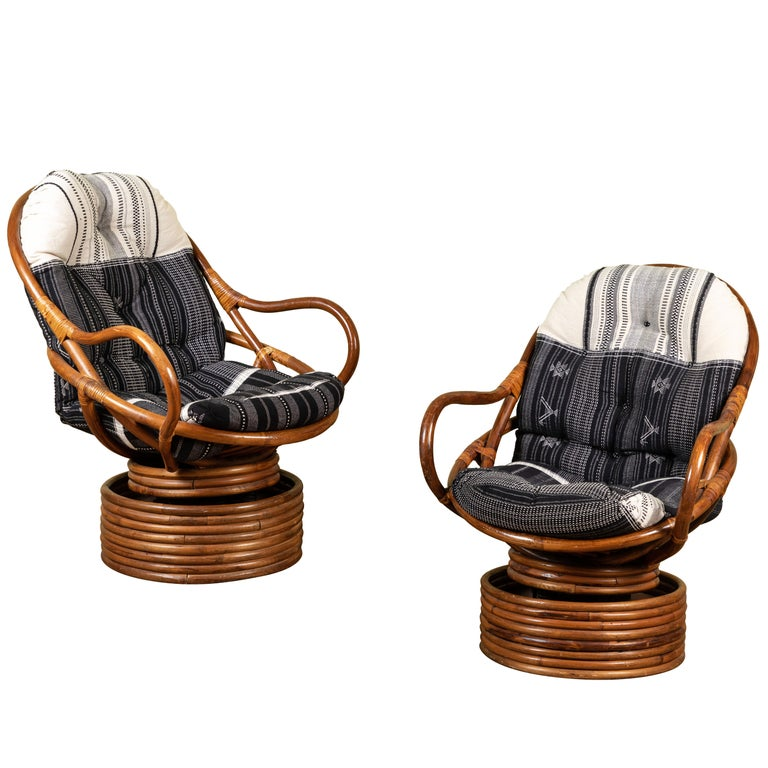 Rattan Rocking and Swivelling Lounge Chairs For Sale