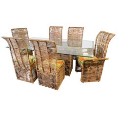 Rattan Jute Rope Wrapped 7-Piece Dining Set
