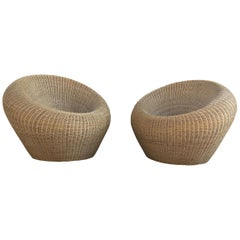 Rattan Round Chairs by Isamu Kenmochi