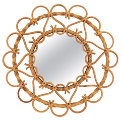 Rattan Round Mirror with Heart Motifs