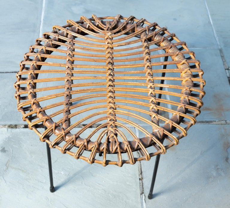 Italian Rattan Round Side Table with Black Metal Base For Sale