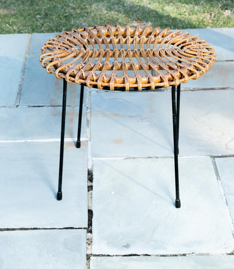 Hand-Woven Rattan Round Side Table with Black Metal Base For Sale