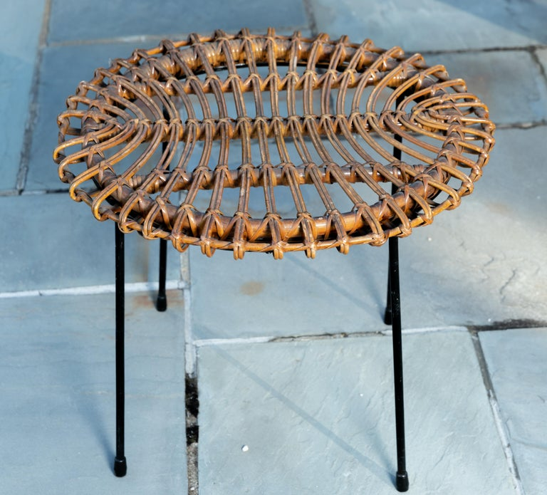 Rattan Round Side Table with Black Metal Base In Good Condition For Sale In Bridgehampton, NY