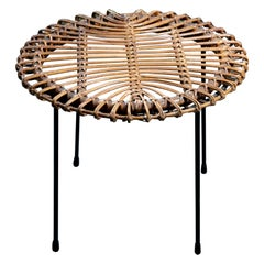 Rattan Round Side Table with Black Metal Base