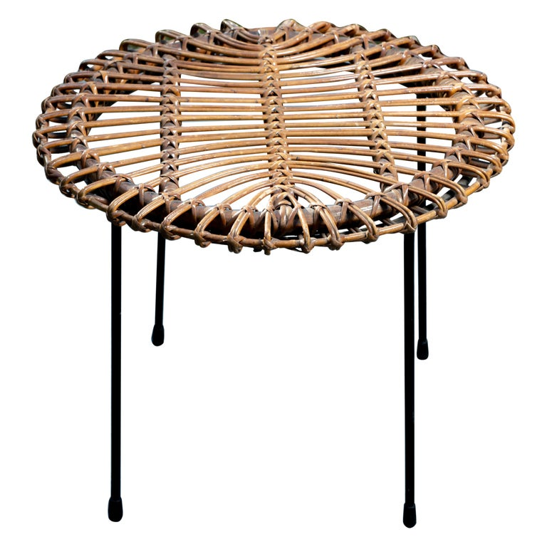 Rattan Round Side Table with Black Metal Base For Sale