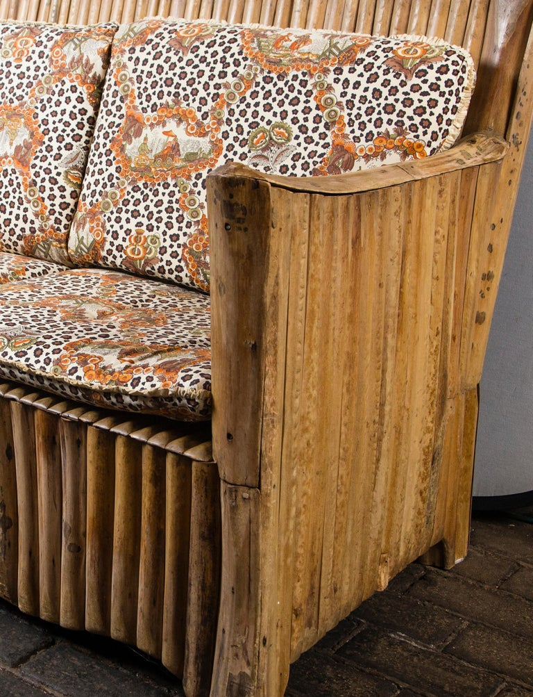 Rattan Settee with Schumacher Fabric Cushions, 1920s For Sale 4