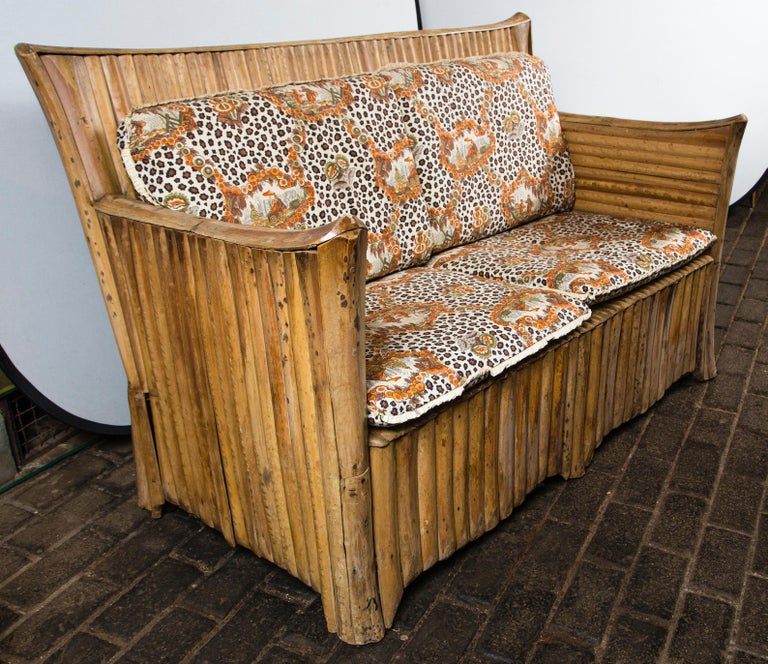 Rattan Settee with Schumacher Fabric Cushions, 1920s For Sale 2