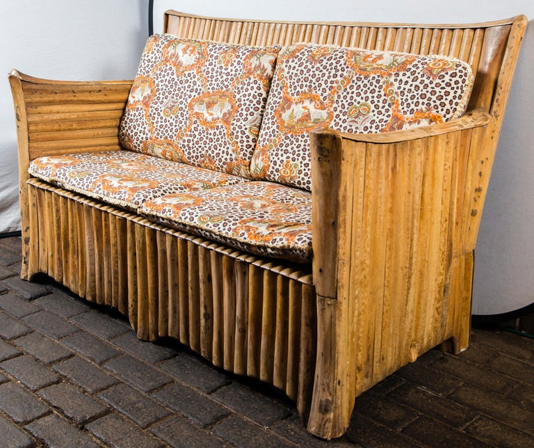 Rattan Settee with Schumacher Fabric Cushions, 1920s For Sale 3