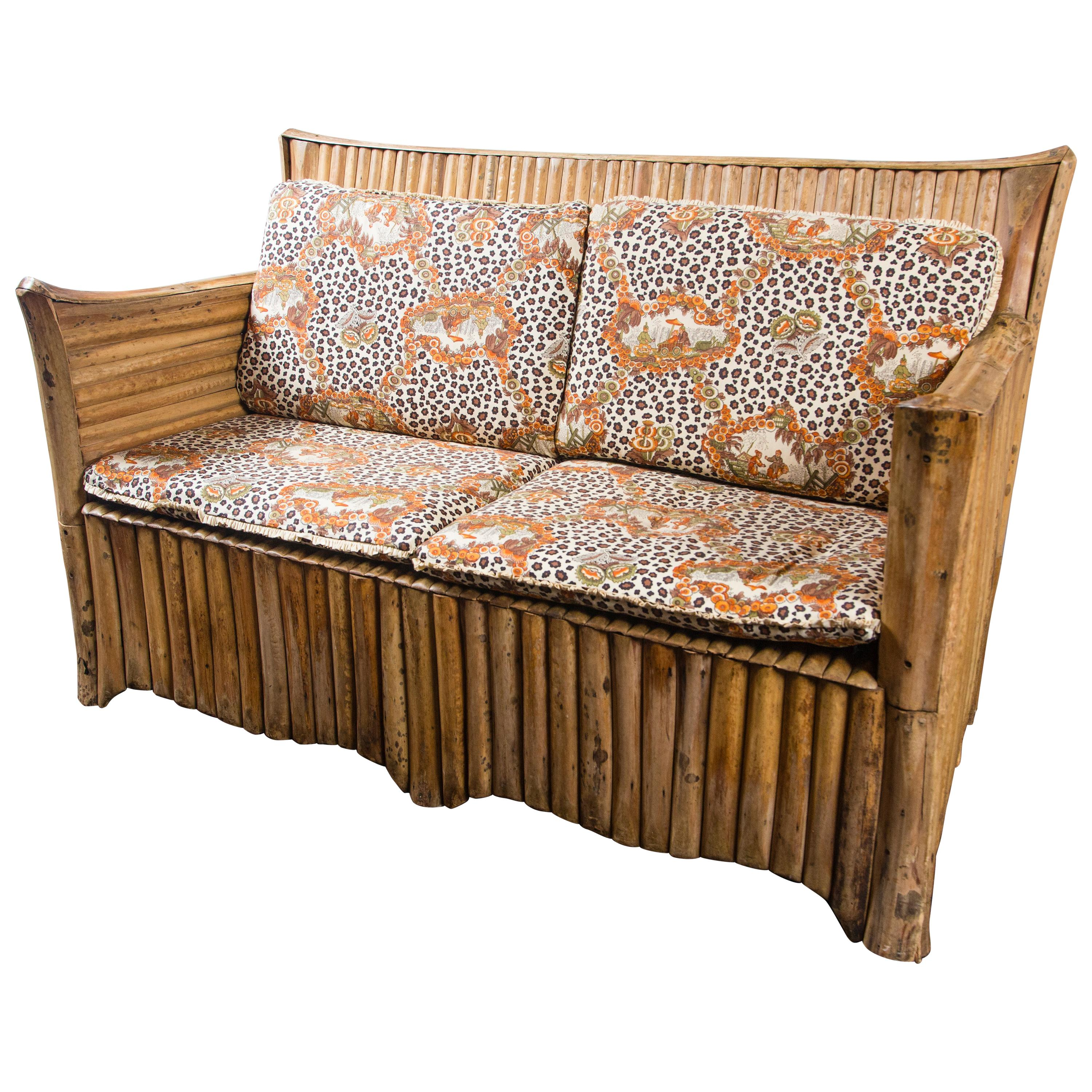 Rattan Settee with Schumacher Fabric Cushions, 1920s