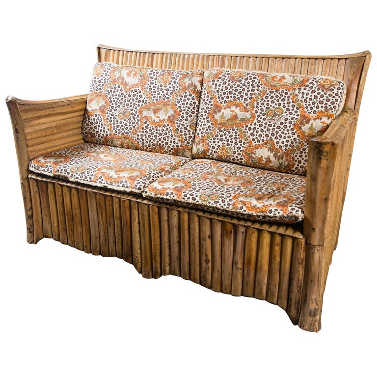 Rattan Settee with Schumacher Fabric Cushions, 1920s For Sale