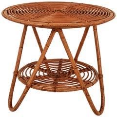 Rattan Side Table, 1970s