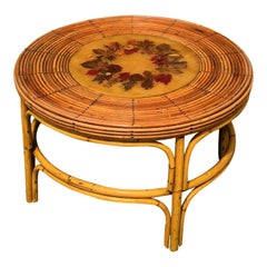 Rattan Side Table with Floral Decor in Resin Center, France, 1950s