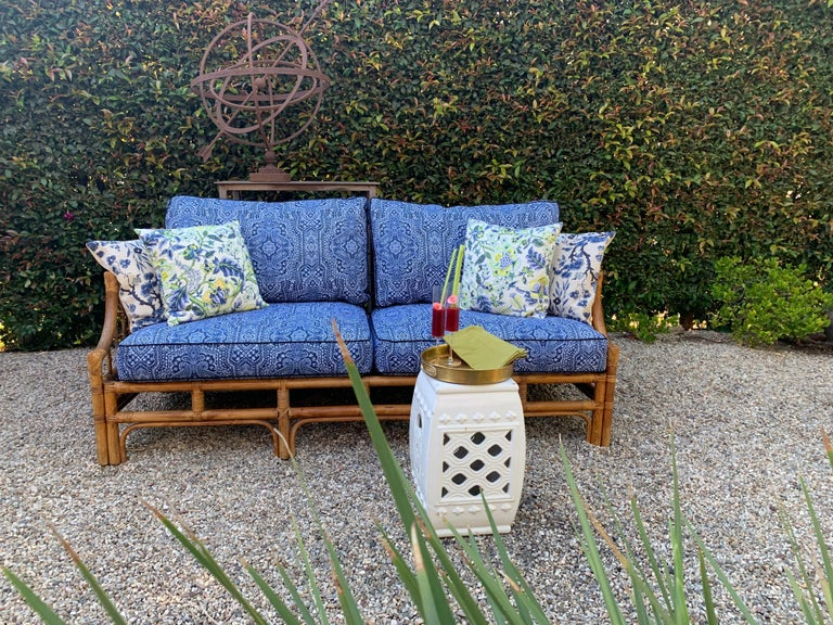 Rattan sofa with new blue