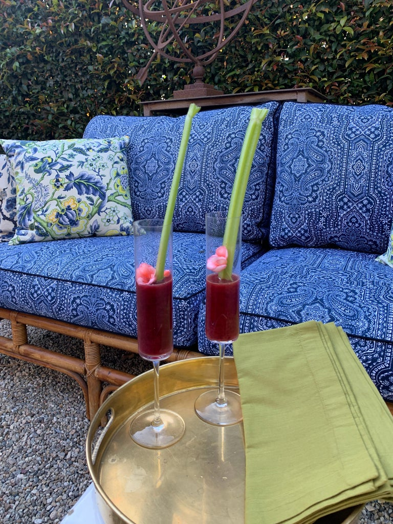 Mid-Century Modern Rattan Sofa with Blue Upholstery For Sale