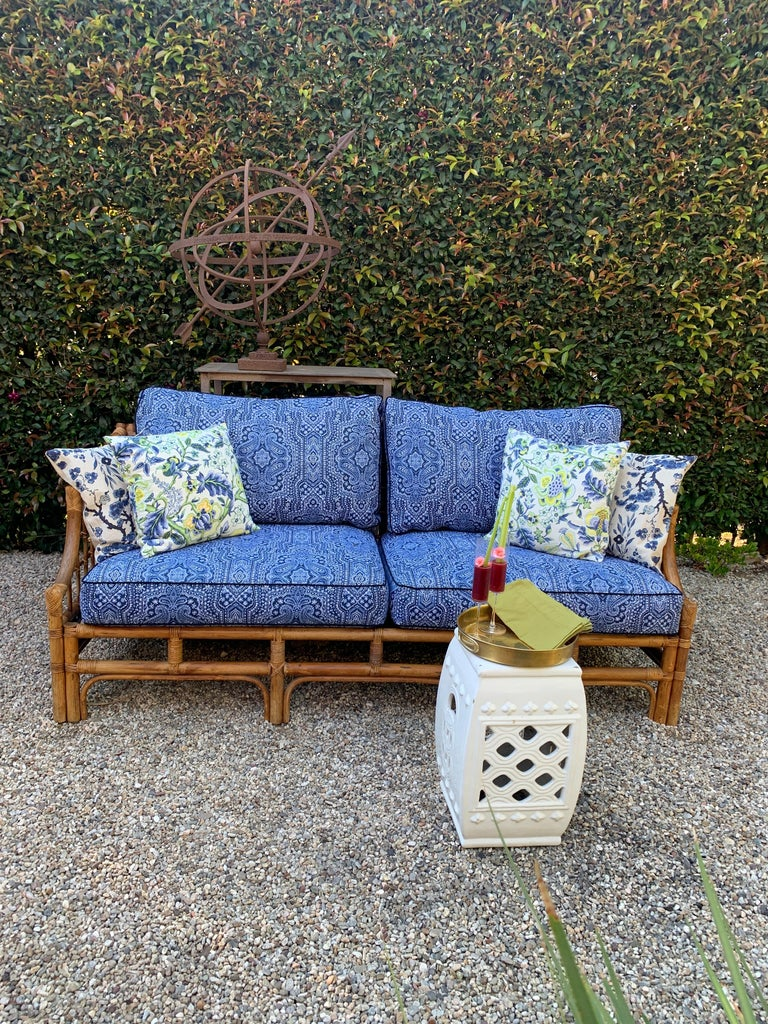 Rattan Sofa with Blue Upholstery In Good Condition For Sale In Los Angeles, CA