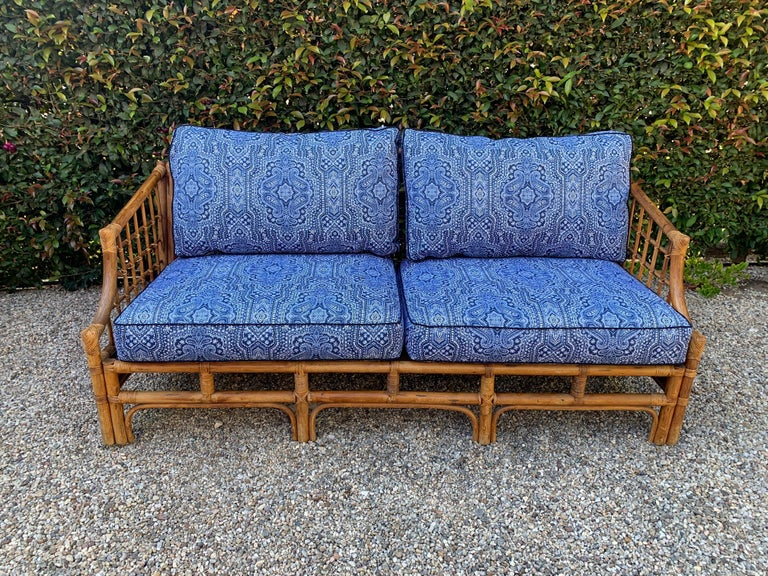 20th Century Rattan Sofa with Blue Upholstery For Sale