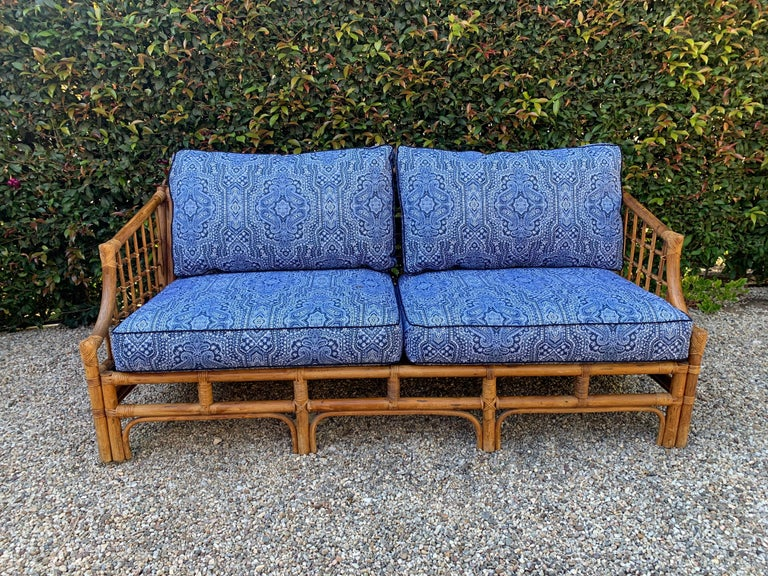 Fabric Rattan Sofa with Blue Upholstery For Sale