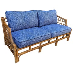 Rattan Sofa with Blue Upholstery