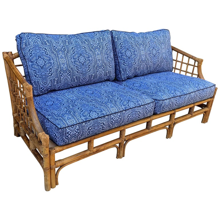 Rattan Sofa with Blue Upholstery For Sale