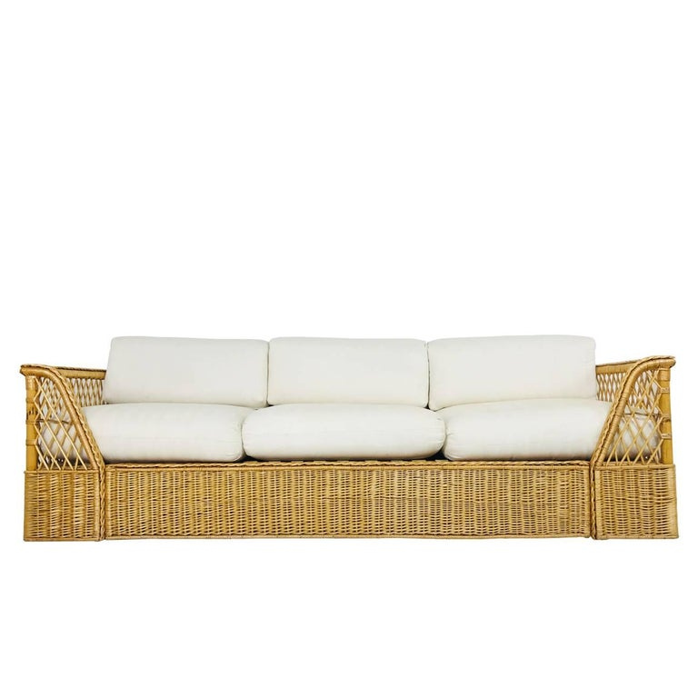 Rattan Sofa With Upholstered Cushions By Mcguire For