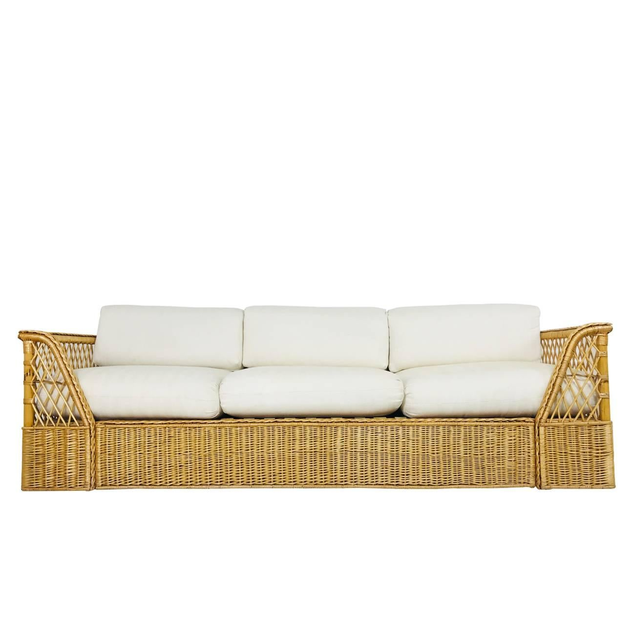 Ordinaire Rattan Sofa With Upholstered Cushions By McGuire For Sale