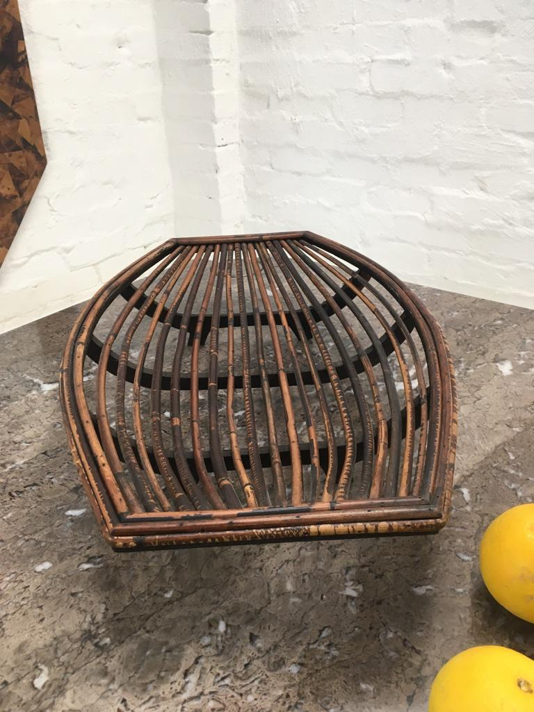 Rattan Split Cane and Silky Oak Tiki Tribal Fruit Basket, Melbourne, circa 1950 In Good Condition For Sale In Melbourne, AU