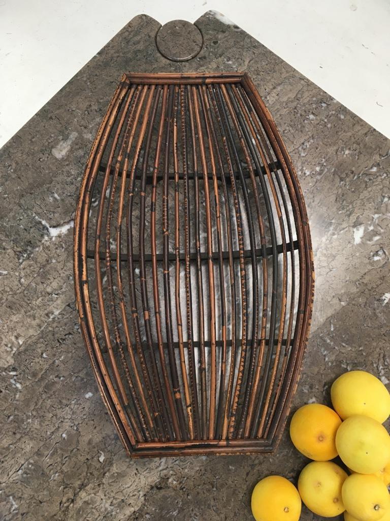 Mid-20th Century Rattan Split Cane and Silky Oak Tiki Tribal Fruit Basket, Melbourne, circa 1950 For Sale