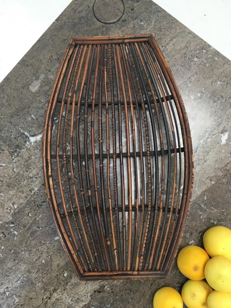Rattan Split Cane and Silky Oak Tiki Tribal Fruit Basket, Melbourne, circa 1950 For Sale 1