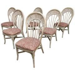 Rattan Split Reed Fan Back Dining Chairs, Set of 6