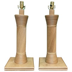 Rattan Split Reed Table Lamps, a Pair
