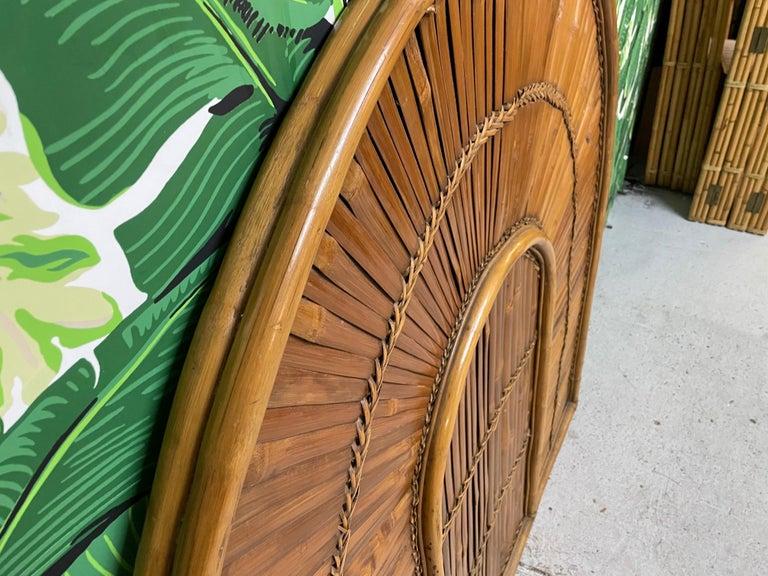 Organic Modern Rattan Split Reed Rising Sun Queen Size Headboard For Sale