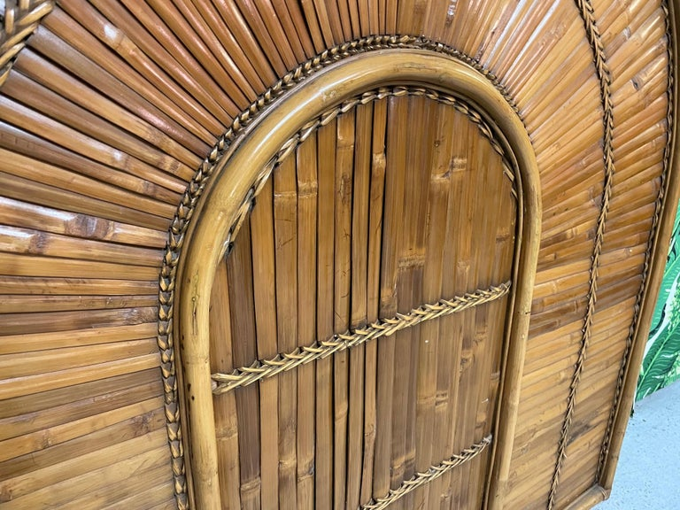 Late 20th Century Rattan Split Reed Rising Sun Queen Size Headboard For Sale