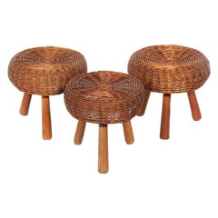 Rattan Stools in the Manner of Charlotte Perriand
