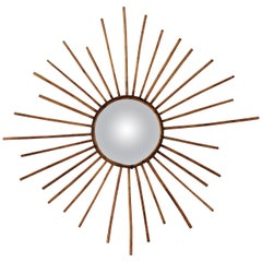 Rattan Sunburst Convex Mirror, France, 1960s